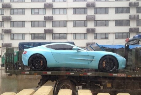 Aston Martin One-77 on a Truck in China
