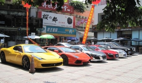 An impressive supercar line-up in Chengdu, China
