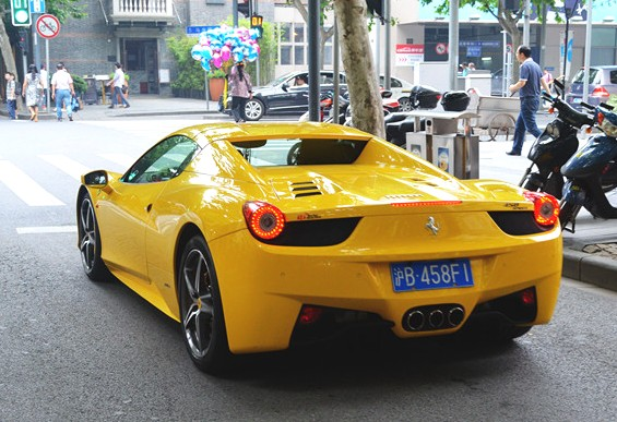 Yellow Ferrari 458 Spider has a License in China