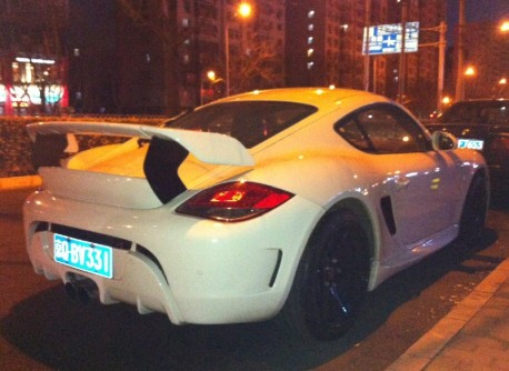 Porsche Cayman has a Giant Wing in China