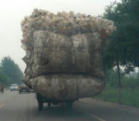 Transporting empty plastic Bottles, the Chinese Way