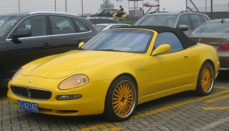 Maserati 4200GT Spyder is very Yellow in China