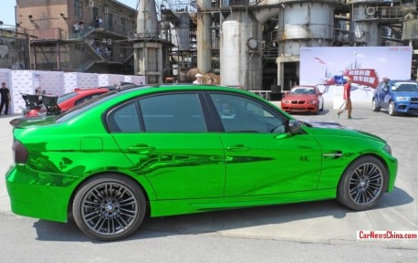 BMW M3 sedan is shiny green in China