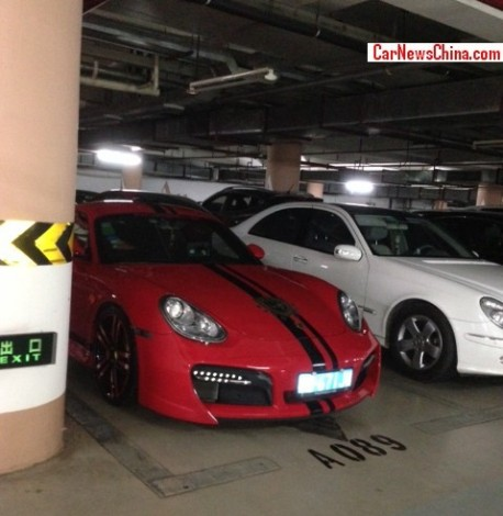 Spotted in China: pimped Porsche Cayman in red