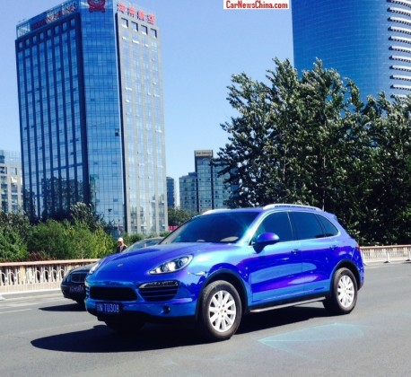 Porsche Cayenne is shiny blue in China
