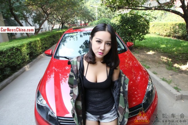 Punkyfunky Chinese Girl gets very Hot in & around a red Volkswagen Golf