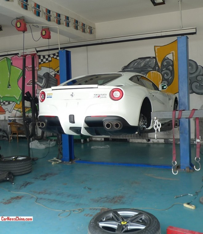 Ferrari F12berlinetta in a filthy garage in China