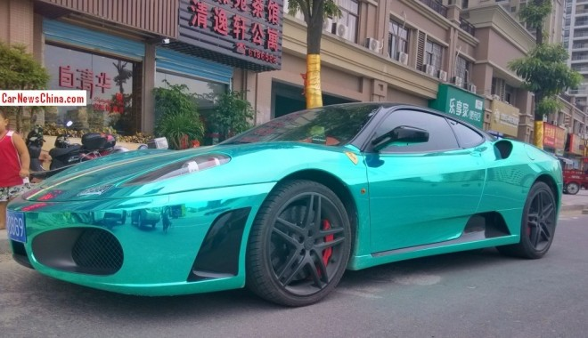 Ferrari F430 is shiny mint green in China