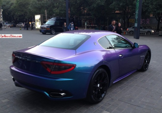 Maserati GranTurismo is shiny-purple blue in China