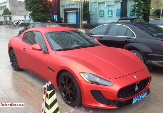 Maserati GranTurismo is matte-pinkish red in China