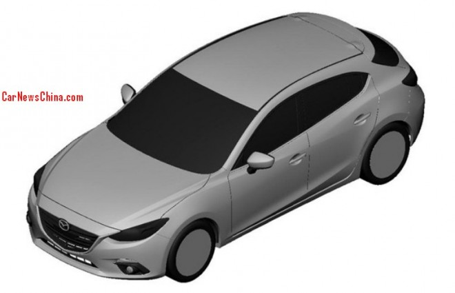 Patent Applied: 2014 Mazda 3 hatchback & sedan for the China car market