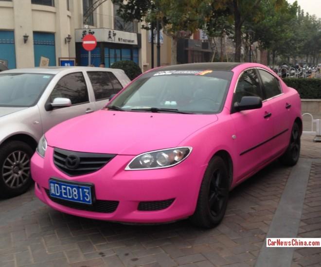 Mazda 3 sedan is Pink in China