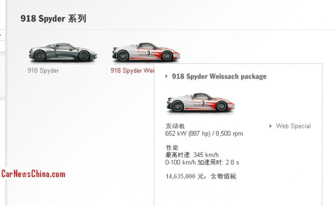 Porsche 918 Spyder will cost more than two million U.S. dollar in China