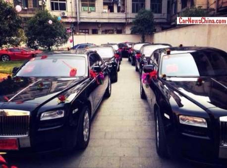 Traffic Jam on a Super Car Wedding in China