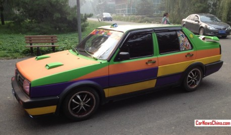 Volkswagen Jetta is matte orange, matte purple, matte yellow, and matte green in China