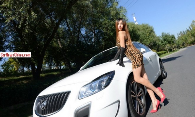 Chinese Tiger Girl growls all over a Buick Regal GS