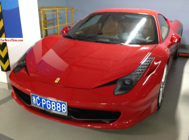 Red Ferrari 458 has a Lucky License in China
