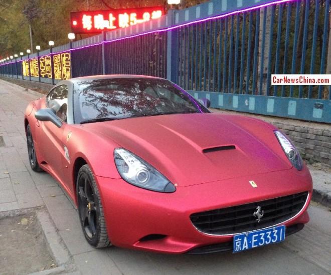 Ferrari California is matte red in China