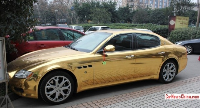 Bling! Maserati Quattroporte is Gold in China
