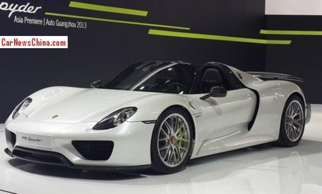 Porsche 918 Spyder arrives at the Guangzhou Auto Show
