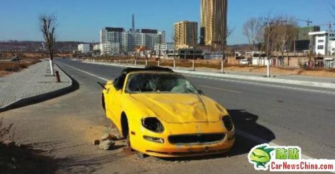 Maserati 4200GT Spyder abandoned in China