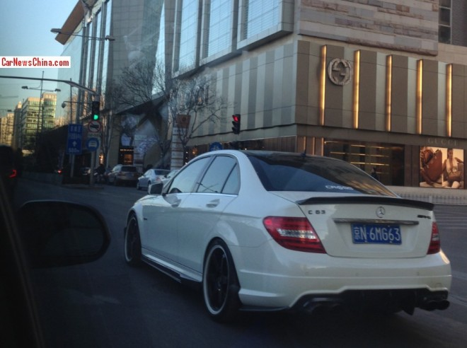 White Mercedes-Benz C63 AMG has a License in China