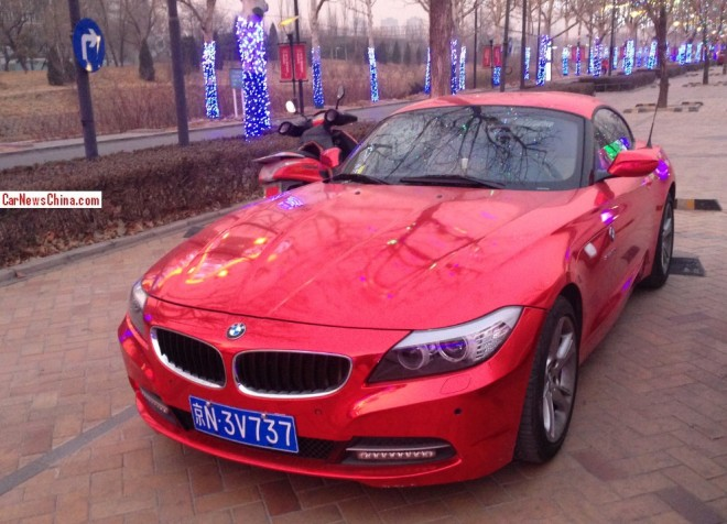 BMW Z4 is shiny red in China