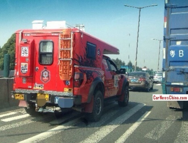 Ford F-150 Raptor camper van spotted on the Highway in China