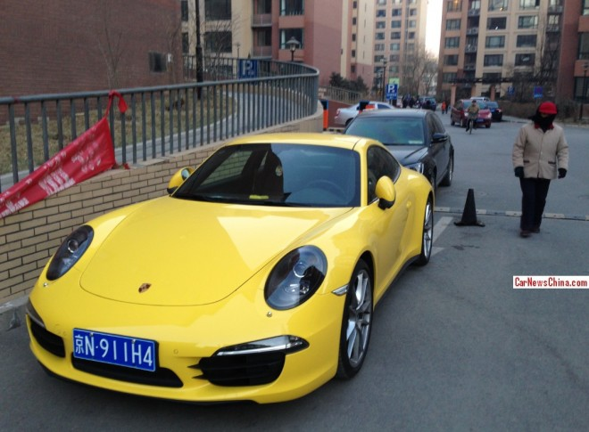 Porsche 911 is Yellow with a License in China