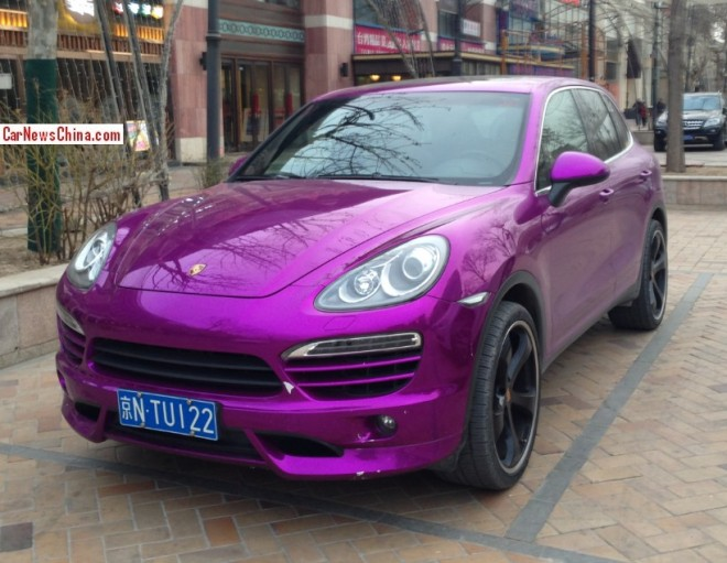 Porsche Cayenne is shiny purple in China