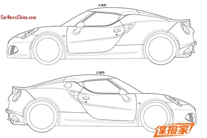 patent applied  alfa romeo 4c might come to china