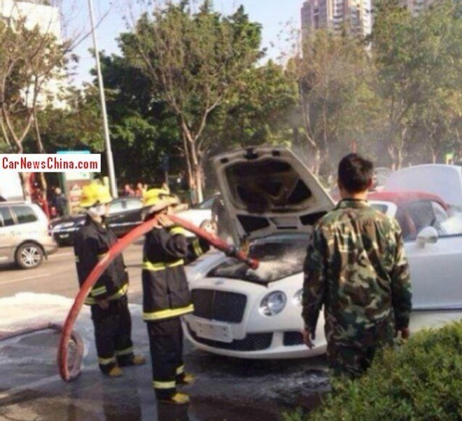 Bentley Continental GT Convertible catches Fire in China