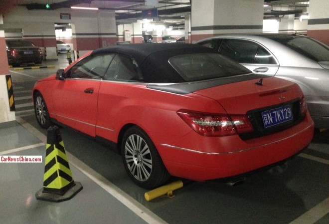 Mercedes-Benz E-Class convertible in Pink Orange in China