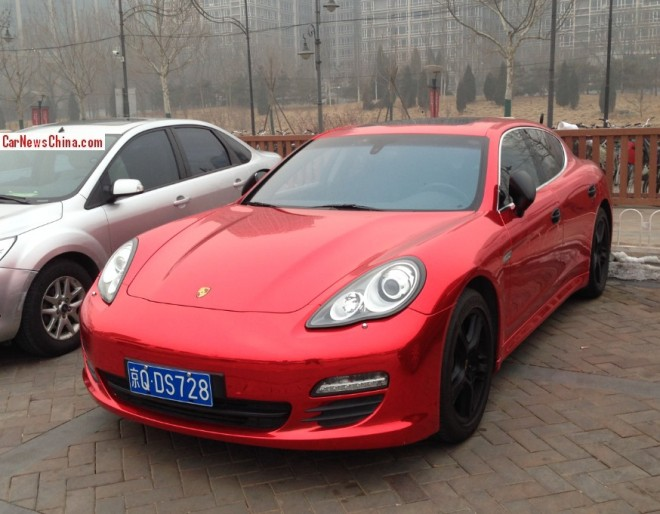 Porsche Panamera is shiny red in China