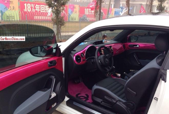 volkswagen beetle is pink inside in china. Black Bedroom Furniture Sets. Home Design Ideas