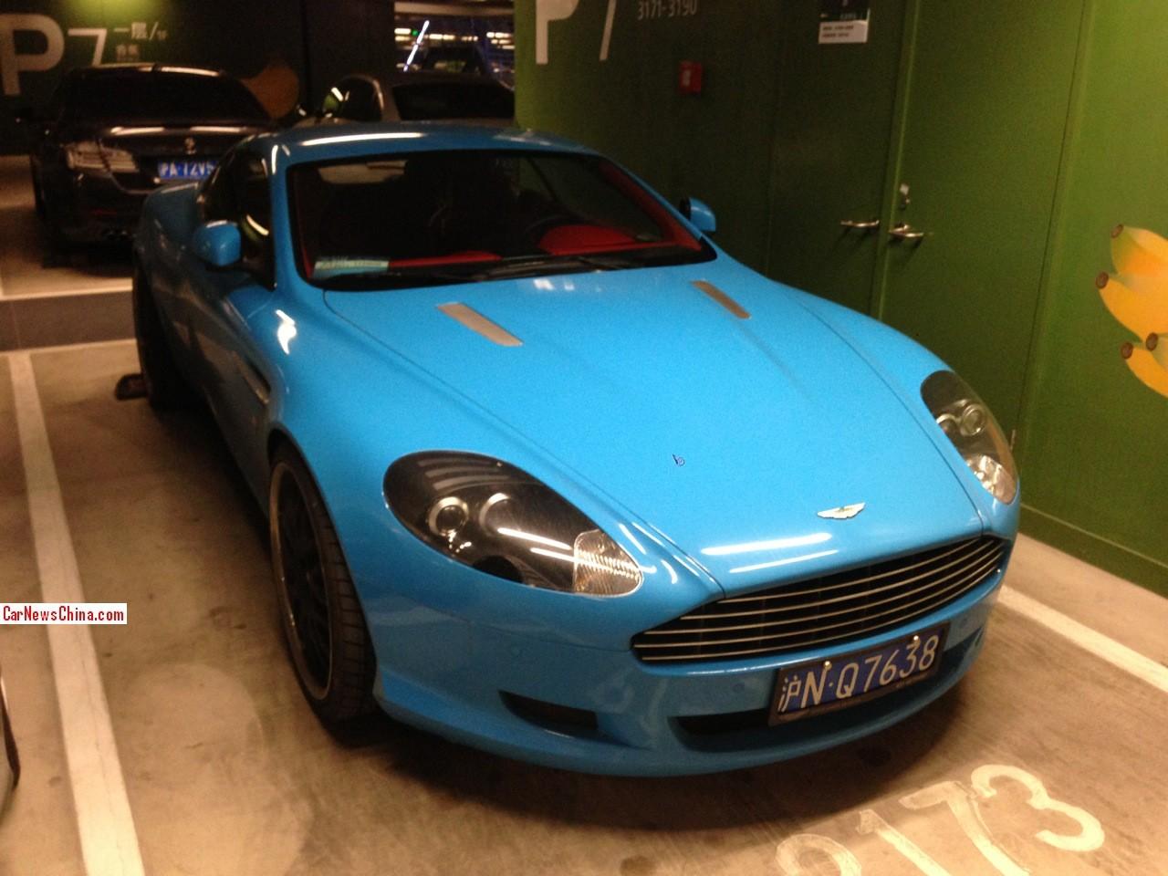 aston martin db9 is baby blue in china - carnewschina