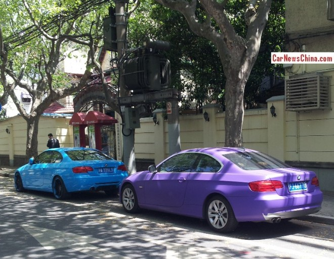 BMW 3-Series Coupes are matte purple & baby blue in China