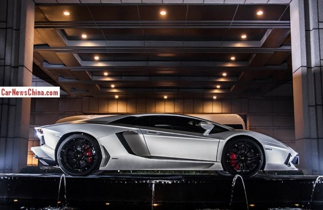 This is the one-off Lamborghini Aventador Jackie Chan Edition
