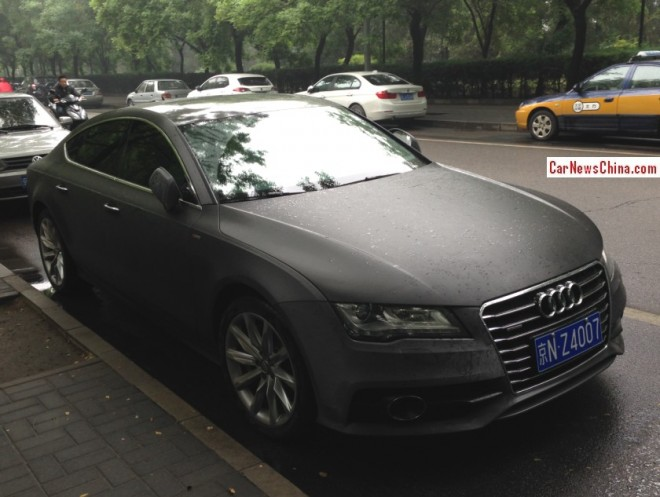 Audi A7 is matte black in the rain in China