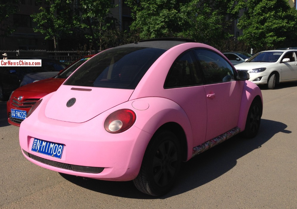 spotted in china: volkswagen beetle in matte pink - carnewschina