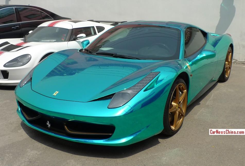 Ferrari 458 Is Chrome Shiny Green In China Carnewschina Com