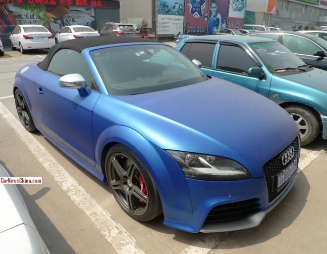 Audi TTS Roadster in matte blue in China