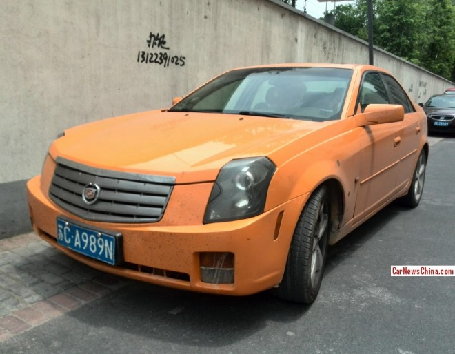 Cadillac CTS is matte Orange in China