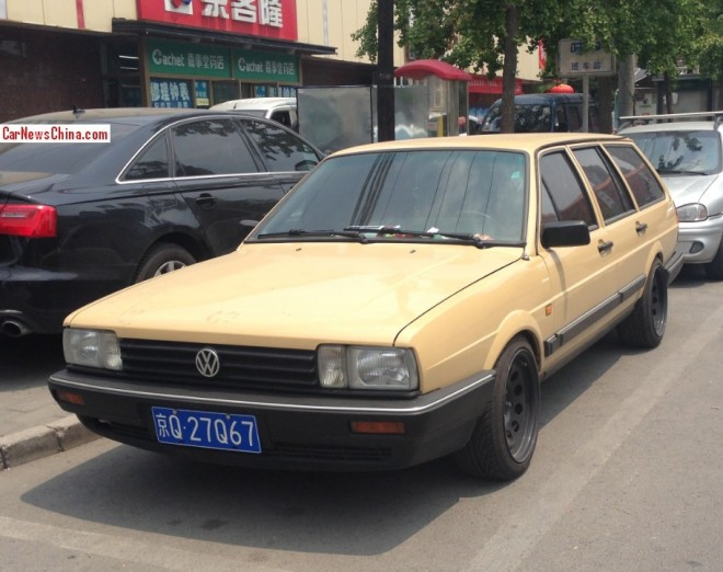 Volkswagen Santana Variant is a yellow brown low rider in China