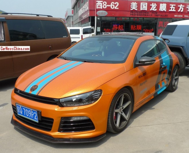 Volkswagen Scirocco is glitter orange, blue, and matte black in China