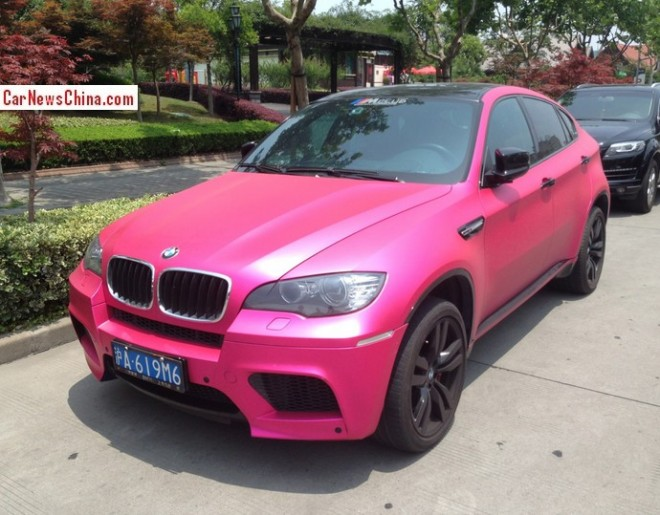 BMW X6M is shiny Pink with a License in China
