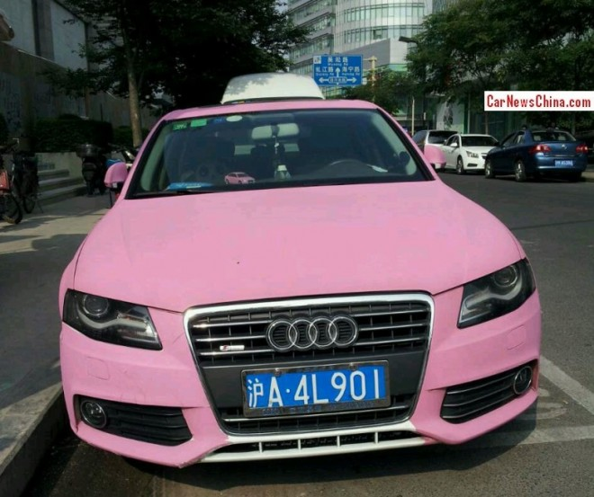 Audi A4L with a License is Double matte Pink in China