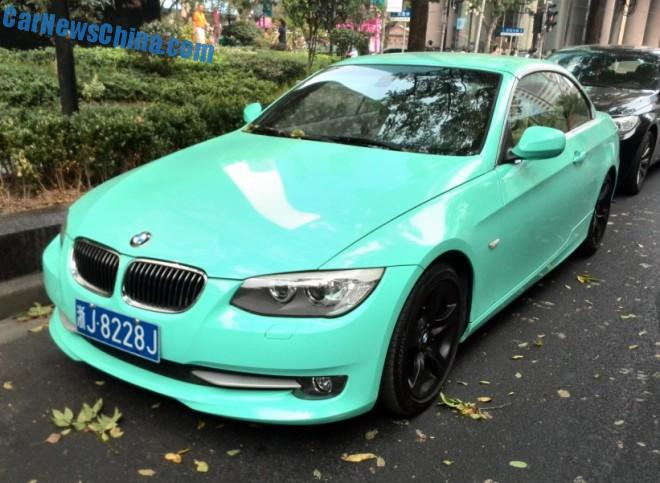 BMW 335i Coupe is turquoise in China