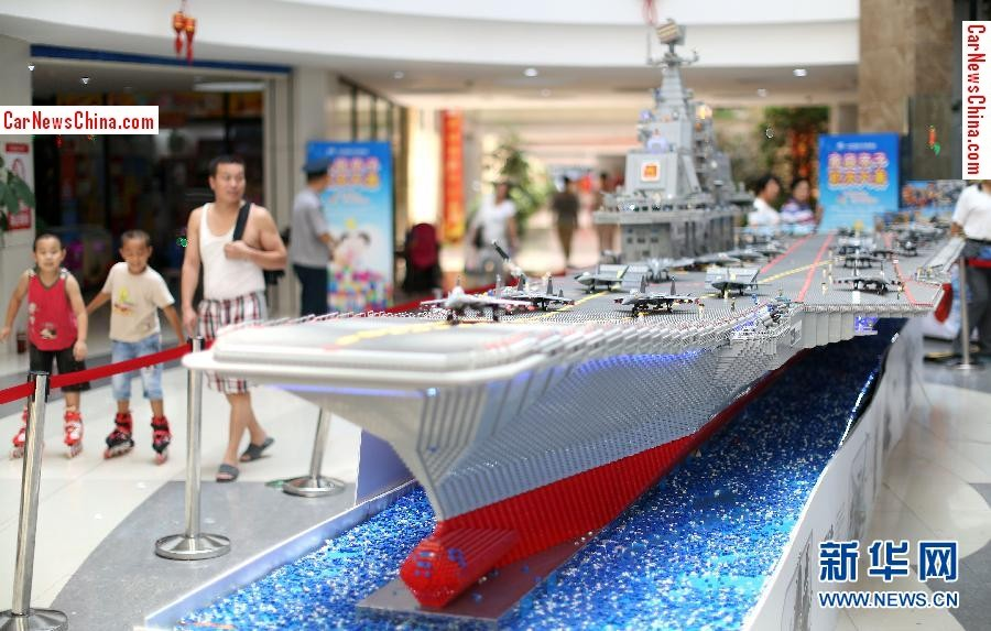 chinese toy maker makes nine meter long aircraft carrier from bricks