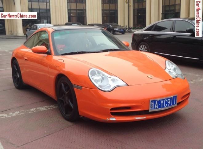 Porsche 996 911 Targa is Orange with a License in China